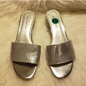 Bandolino Goldenkey Silver Wedge Sandals